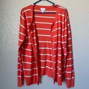 NEW Old Navy Orange & White Striped Cardigan